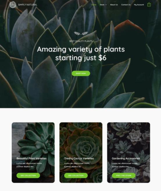 plants website template